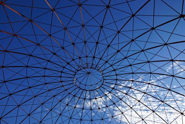 decoratief plaatje van een dakconstructie die zich als een netwerk vertakt