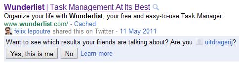 Google zoekresultaten met Twitter aanbeveling