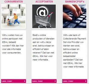 Ideal.nl gebruikt veel onduidelijke links met de teksten 'Klik hier' en 'Lees meer'.