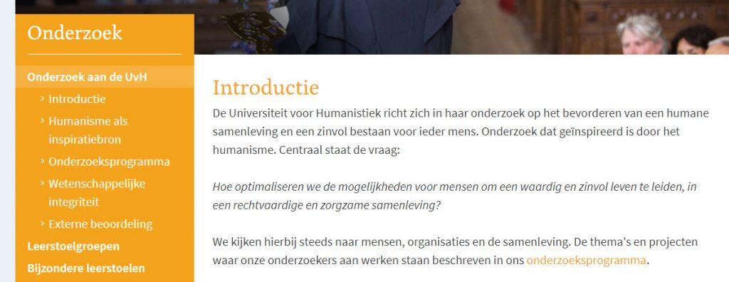 screenshot webpagina UHM met link in het men en in de content